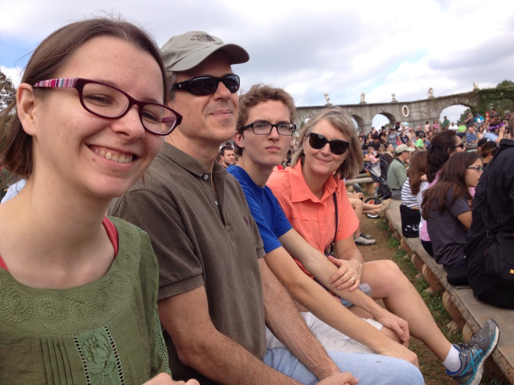 Allison, Bob, Thomas and Kelly in the stands for a joust at the Texas Renaissance Festival.